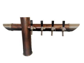 Biersäule aus Kupfer antik & Edelstahl, 4-ltg, / OHNE Zapfhähne