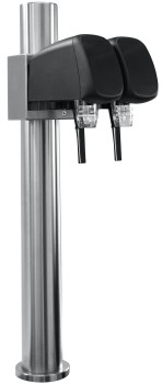 Tower stainless steel incl. 2x postmix tap, pre-assembled