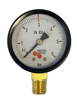Manometer für Druckminderer d 49 0-6bar  / roter Strich bei 3bar