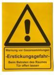 """CO2 - Warnhinweiskleber """"Warnung vor Gasansammlung"""""""